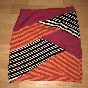 V Front Striped Skirt . Artelier by Nicole Miller